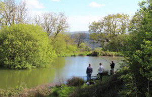 3 Men Fishing at Sherrill Farm Devon
